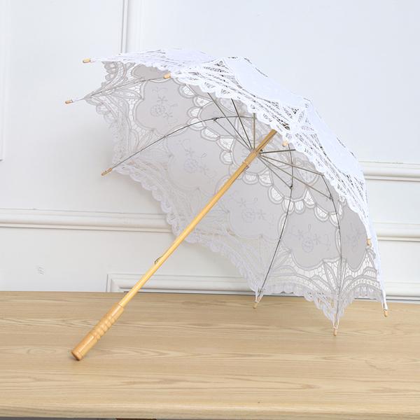 White Princess Lace Parasol Umbrella Wedding Bridal Decoration Wooden Handle