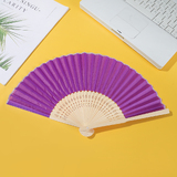 Bulk lot 24 Light Purple Silk Hand Fan In Silk Wedding Party Gift