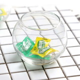24 x Clear Glass Fish Bowl Rolypoly Wedding Votive Candle Holders Tealight Holder