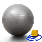Yoga Gym Pilates Fit Anti Burst Swiss Ball With Pump 75cm Silver