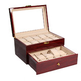 New 22 Compartments Wooden Watch  Jewellery Box Wristwatch Display Storage Case