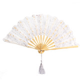 12 x White Lace Wooden Handmade Hand Fan Wedding Party Gift