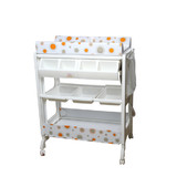 Baby Change And Bath Table With Safety Clipper Comfort Pad Lockable Wheels