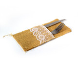 24 x Rustic Hessian Burlap Lace Wedding Cutlery Holder Pouch Vintage