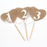 Vintage Rustic Hessian Burlap Sticks Wedding Table Decoration Numbers 1-10