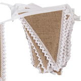 10m Vintage Rustic Wedding Party Decoration Hessian Burlap Lace Bunting Banner Flag