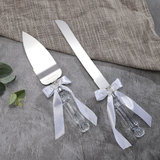 Wedding Bridal Cake Server Knife Set Steel Love Heart White Handle Gift Box