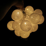 120 Warm White Cotton Ball LED String Fairy Lights