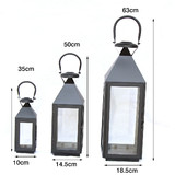 12 x Black Assort 3 sizes Wedding Square Stainless Steel Candle lanterns Centerpieces