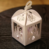 100 x White Castle Laser Cut Wedding Favour Boxes Bomboniere Candy Bags