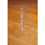 BN 4 Tier Maypole Clear Acrylic Round Cupcake Stand Wedding Party Didsplay