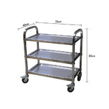 BN Stainless Steel 3 Tiers Food Trolley Dining Service Utility Cart