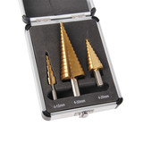 3 PC Set HSS Step Cone Drill Bits Titanium Coated