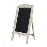 New White Wooden Rustic Vintage Chalkboard with White Heart Easel Rack Blackboard
