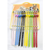 12 x Assorted Adjustable Pet Cat Dog Rhinestone Leather Collar with Bell Neck Strap