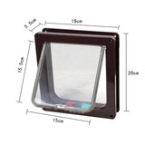 Brown 4 Way Lockable Pet Cat Dog Puppy Flap Door Small 19x20cm