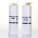 Box of 12 White Unscented Pillar Candles Wholesale Bulk - 7.5 x 22.5cm / 3x9''