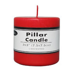 Box of 36 Red Unscented Church Candles Wholesale Bulk - 7.5 x 7.5cm / 3x3''