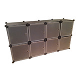 BN 8 Doors Black Stackable Easy To Assemble DIY Storage Wardrobe Cabinet Storage Shelves