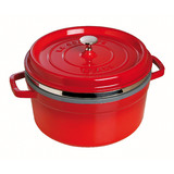 New 26cm Staub Cookware Cocotte Steamer Round Cast Iron Cherry Red 5.2L