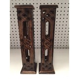 2 x Wooden Diamond Design Carved Incense Tower Stick Cone Holder Burner Box 31cm