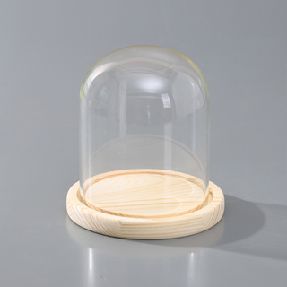 Bulk Lot x 10 Clear Glass Display Dome 15cm Tall With Wooden Base Home Wedding Decor