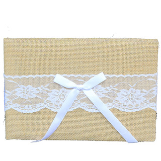 Rustic Vintage Wedding Lace Hessian Burlap Guest Book Signing Alburm