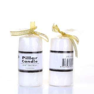 Box of 48 White Unscented Pillar 5 x 10cm / 2x4''