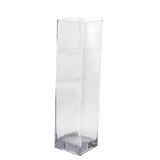 Bulk Lot 8 x Clear Squarer Glass Vases 50CM x 10CM Wedding Event Table Deco