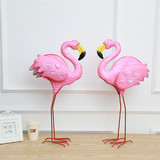 2 x Pink Flamingos Metal Yard Garden Lawn Art Ornaments Wedding Decorations