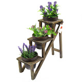 BN Wooden Dark Garden Wedding 3 Tier Shelf Plant Rack Stand With 3 Pots