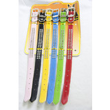 6 x Large Assorted Adjustable Pet Cat Dog Rhinestone Leather Collar Neck Strap