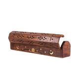 2 x Wooden Constellation Box Incense Stick Cone Holder Conffin Burner Ash Catcher 30cm/12''
