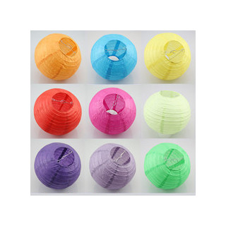 12 x Coloured Round Paper Lantern - 16""