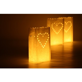48 x Paper Bag Candle Lantern, White , Big Hearts Design