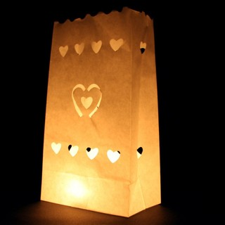 48 x Paper Bag Candle Lantern, White , Small Hearts Design