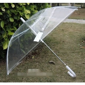 12 x Clear Transparent Wedding Umbrella - White Handle