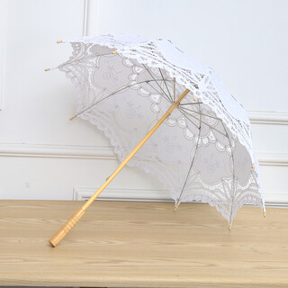 White Princess Lace Parasol/ Umbrella Wedding Bridal Decoration Wooden Handle