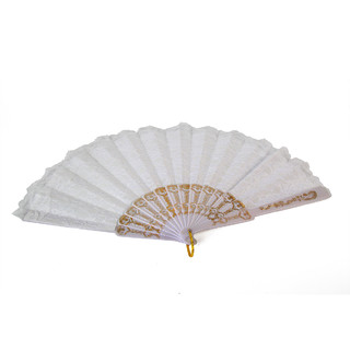 24 x White Spanish Lace Silk Folding Hand Fan