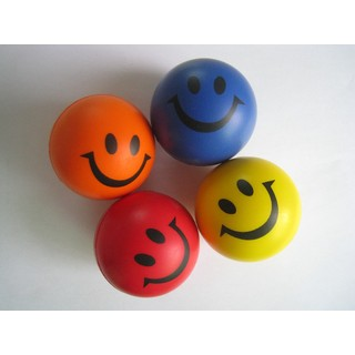 Bulk Lot x 24 Smile Face Foam Ball Hand Stress Relief Squeeze