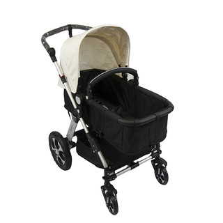 New 2 in 1 Baby Pram Stroller with Convertible Bassinet / Seat 4 Wheel Aluminium - Cream