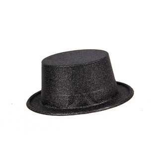 Colorful Glitter Party Fun Fancy Top Hat Black