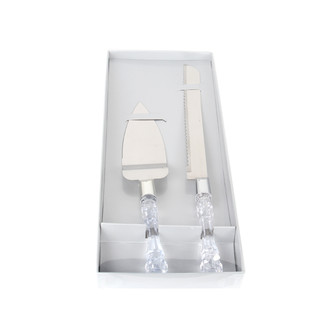 Wedding Bridal Cake Server Knife Set Steel Clear Handle Gift Box