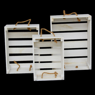 3PC Wooden White Decorative Crates Boxes Wedding Home Vintage Rustic Storage