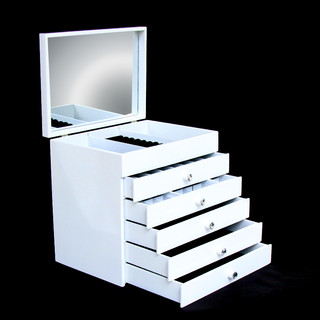 Large White Wooden Jewellery Display Box Armoire Case Organizer 6 Layer
