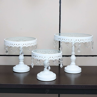 3PC White Wedding Metal And Glass Lace Cupcake Cake Stand With Crystal Pendant Chain