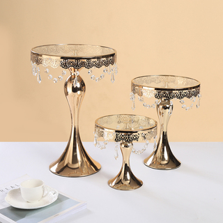 3PC Gold Wedding Metal And Glass Lace Cupcake Cake Stand With Crystal Pendant Chain