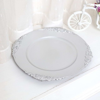 25 x Silver Vintage Charger Plate 33cm French Style