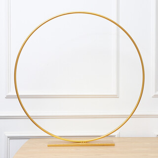 80cm Gold Floral Hoop Circle Centrepiece with Stand