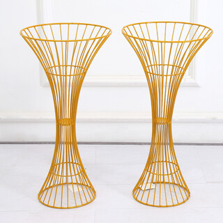 2 x Gold Hour Glass Shape Flower Stand Centrepiece